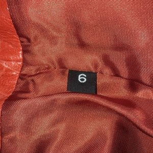 SON-YA Skirts - Son-Ya Red Orange Leather Croc Textured Mini Skirt